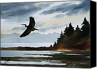 Heron  By James Williamson Painting Canvas Prints - Heron Silhouette Canvas Print by James Williamson