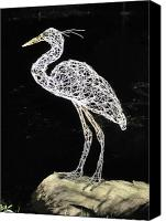 Kinetic Sculpture Sculpture Canvas Prints - Heron Canvas Print by Tommy  Urbans