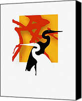 Herons Canvas Prints - Herons  Canvas Print by Bob Salo