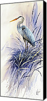 Heron  By James Williamson Painting Canvas Prints - Herons Grace Canvas Print by James Williamson