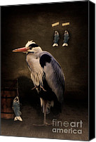 Animal Mixed Media Canvas Prints - Herons home Canvas Print by Angela Doelling AD DESIGN Photo and PhotoArt