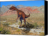 Reptiles Mixed Media Canvas Prints - Herrarsaurus In Desert Canvas Print by Frank Wilson