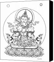 Tibetan Buddhism Canvas Prints - Heruka-Vajrasattva -Buddha of Purification Canvas Print by Carmen Mensink