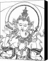 Buddhist Drawings Canvas Prints - Heruka Vajrasattva Close-Up Canvas Print by Carmen Mensink