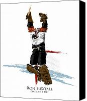 Sports Art Canvas Prints - Hextall Scores Canvas Print by David E Wilkinson