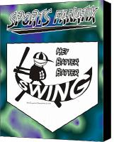 Batter Digital Art Canvas Prints - Hey Batter Batter Swing Canvas Print by Maria Watt