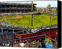 Baseball Painting Canvas Prints - Hey Hey 353 Canvas Print by Phil Strang
