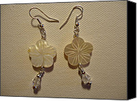 Glitter Earrings Jewelry Canvas Prints - Hibiscus Hawaii Flower Earrings Canvas Print by Jenna Green