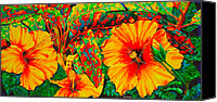 Daniel Jean-baptiste Canvas Prints - Hibiscus with Crotons Canvas Print by Daniel Jean-Baptiste