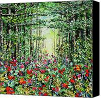 Beata Canvas Prints - Hidden Meadow Oil Painting Canvas Print by Beata Sasik
