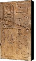 Old Wall Canvas Prints - Hieroglyphs on ancient carving Canvas Print by Jane Rix