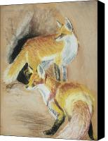 Fox Pastels Canvas Prints - High Alert Canvas Print by Lane Owen