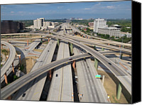 Gulf Coast States Canvas Prints - High Five Interchange, Dallas, Texas Canvas Print by Jeff Attaway
