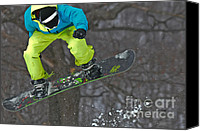 Snowboard Canvas Prints - High Flyin Canvas Print by Lois Bryan