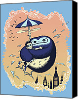 Illustration Canvas Prints - High Flying Hugs Canvas Print by Christopher Ables