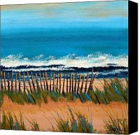 Sand Fences Canvas Prints - High Tide Canvas Print by Cathy Harville