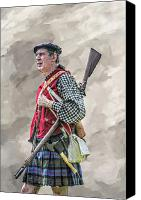 American Revolution Canvas Prints - Highlander Soldier Portrait  Canvas Print by Randy Steele