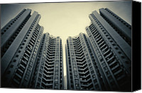 Hong Kong Photo Canvas Prints - Highrise Residential Buildings In Hong Kong Canvas Print by Yiu Yu Hoi