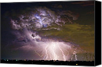 Storm Photo Canvas Prints - Highway 52 Storm Cell - Two and half Minutes Lightning Strikes Canvas Print by James Bo Insogna