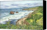 Mendocino Coast Canvas Prints - Highway One Mendocino Canvas Print by Lisa Prusinski