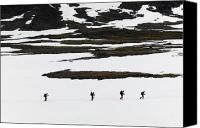 Walked Canvas Prints - Hikers On Kungsleden Trail In Snow Canvas Print by Axiom Photographic