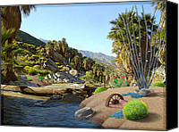 Palm Trees Mixed Media Canvas Prints - Hiking the Canyons Canvas Print by Snake Jagger