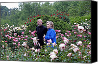 Bswh052011 Canvas Prints - Hillary Clinton And Afghan President Canvas Print by Everett