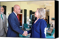 Democrats Canvas Prints - Hillary Clinton Meets With Haitian Canvas Print by Everett