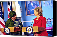 Bswh052011 Canvas Prints - Hillary Clinton Meets With Liberian Canvas Print by Everett