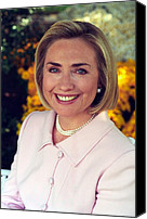 First Lady Canvas Prints - Hillary Rodham Clinton In A White House Canvas Print by Everett