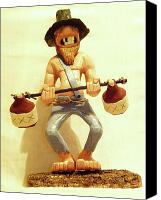 Woodcarving Sculpture Canvas Prints - Hillbilly Weightlifter Canvas Print by Russell Ellingsworth