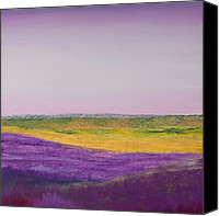 Landscapes Pastels Canvas Prints - Hills of Lavender Canvas Print by David Patterson