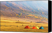 Camping Canvas Prints - Hillside Camping In Hemu, Xinjiang China Canvas Print by Feng Wei Photography