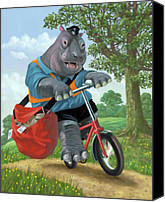 Hippopotamus Canvas Prints - Hippo Post Man On Cycle Canvas Print by Martin Davey