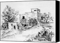 Ruins Drawings Canvas Prints - Hirbe landscape in Afek black and white old building ruins trees bricks and stairs Canvas Print by Rachel Hershkovitz