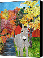 Donkey Mixed Media Canvas Prints - His Red Abode Canvas Print by Lisa Kramer