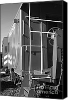Old Caboose Canvas Prints - Historic Niles District in California Near Fremont . Western Pacific Caboose Train . 7D10622 . bw Canvas Print by Wingsdomain Art and Photography