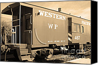 Old Caboose Canvas Prints - Historic Niles District in California Near Fremont . Western Pacific Caboose Train . 7D10627 . sepia Canvas Print by Wingsdomain Art and Photography