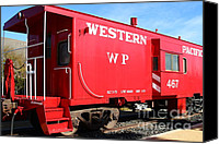 Old Caboose Canvas Prints - Historic Niles District in California Near Fremont . Western Pacific Caboose Train . 7D10627 Canvas Print by Wingsdomain Art and Photography