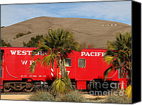 Old Caboose Canvas Prints - Historic Niles District in California Near Fremont . Western Pacific Caboose Train . 7D10718 Canvas Print by Wingsdomain Art and Photography