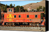 Old Caboose Canvas Prints - Historic Niles Trains in California . Old Sante Fe Caboose . 7D10832 Canvas Print by Wingsdomain Art and Photography