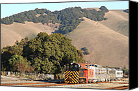 Old Caboose Canvas Prints - Historic Niles Trains in California . Old Southern Pacific Locomotive and Sante Fe Caboose . 7D10817 Canvas Print by Wingsdomain Art and Photography