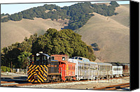 Old Caboose Canvas Prints - Historic Niles Trains in California . Old Southern Pacific Locomotive and Sante Fe Caboose . 7D10818 Canvas Print by Wingsdomain Art and Photography