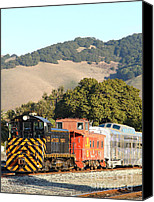 Old Caboose Canvas Prints - Historic Niles Trains in California . Old Southern Pacific Locomotive and Sante Fe Caboose . 7D10819 Canvas Print by Wingsdomain Art and Photography