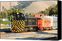 Old Caboose Canvas Prints - Historic Niles Trains in California . Old Southern Pacific Locomotive and Sante Fe Caboose . 7D10821 Canvas Print by Wingsdomain Art and Photography