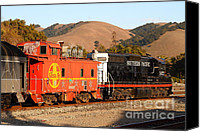 Old Caboose Canvas Prints - Historic Niles Trains in California . Old Southern Pacific Locomotive and Sante Fe Caboose . 7D10843 Canvas Print by Wingsdomain Art and Photography