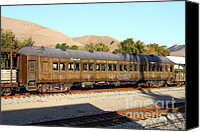 Old Caboose Canvas Prints - Historic Niles Trains in California . Old Western Pacific Passenger Train . 7D10836 Canvas Print by Wingsdomain Art and Photography