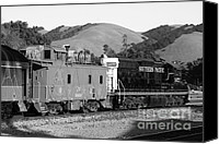 Old Caboose Canvas Prints - Historic Niles Trains in California . Southern Pacific Locomotive and Sante Fe Caboose.7D10843.bw Canvas Print by Wingsdomain Art and Photography