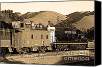 Old Caboose Canvas Prints - Historic Niles Trains in California.Southern Pacific Locomotive and Sante Fe Caboose.7D10843.sepia Canvas Print by Wingsdomain Art and Photography