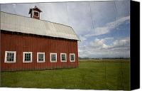 Barn Mixed Media Canvas Prints - Historic Red Barn Canvas Print by Bonnie Bruno